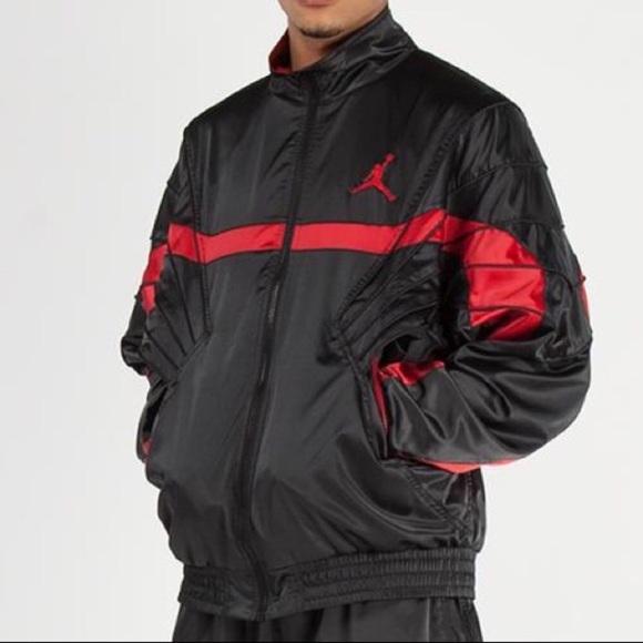 Air Jordan Satin Jacket Black Red Je6